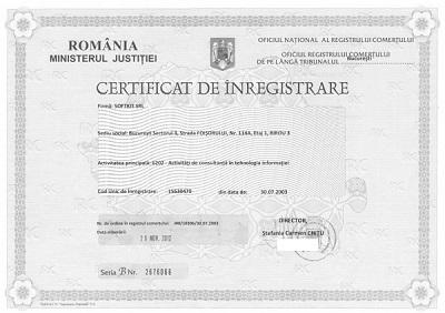 Certificat de înregistrare în Registrul Comerţului