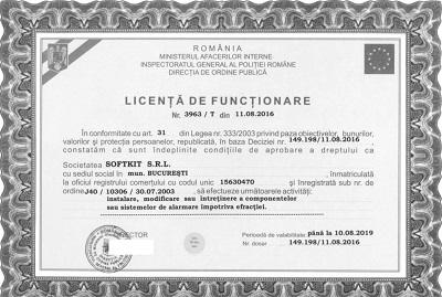 Licenta IGPR pentru sisteme de securitate fizică